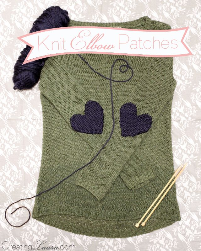 Pin Ups: knit elbow patches| knittedbliss.com