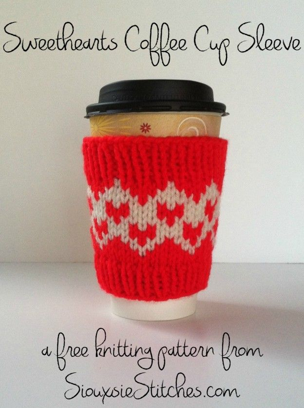 Pin Ups:  Knitted Valentine Coffee Sleeve | knittedbliss.com
