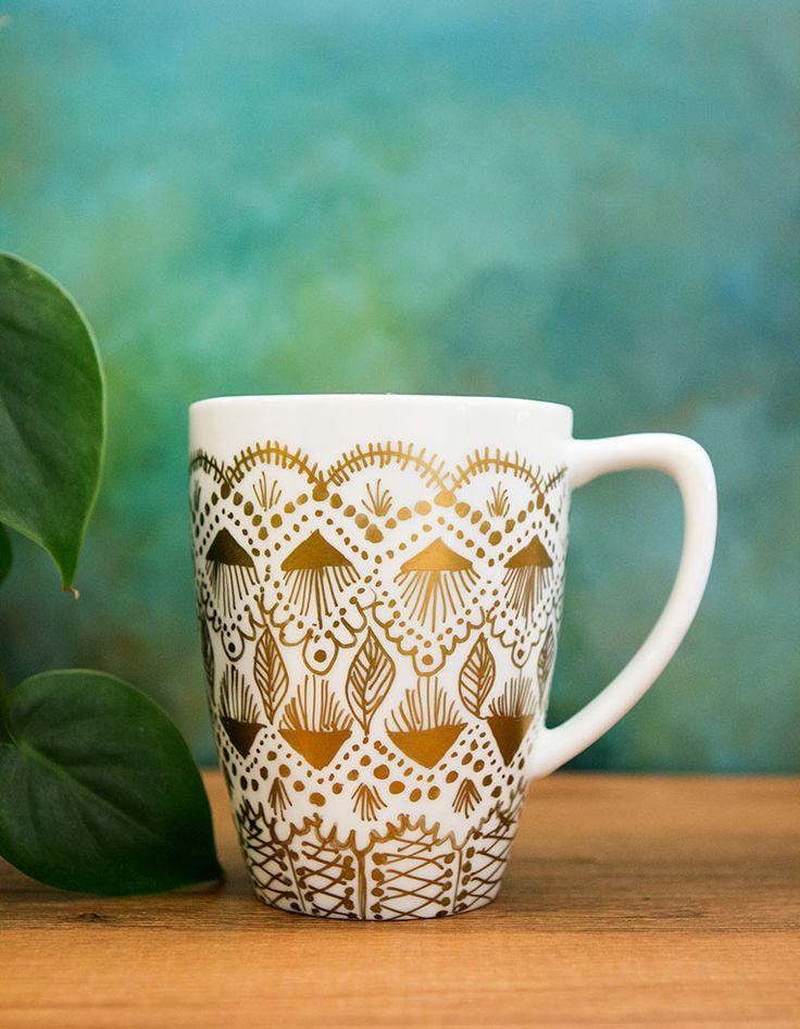 Pin Ups: Gold Sharpie Mug   knittedbliss.com