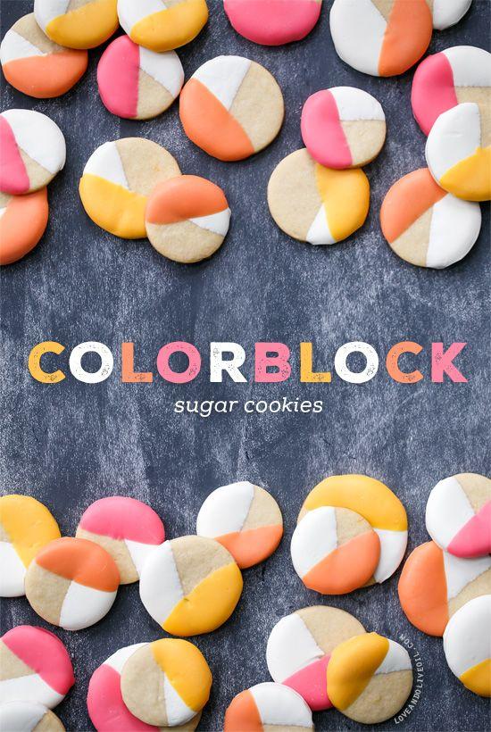 Pin Ups: Colourblock Sugar Cookies | knittedbliss.com